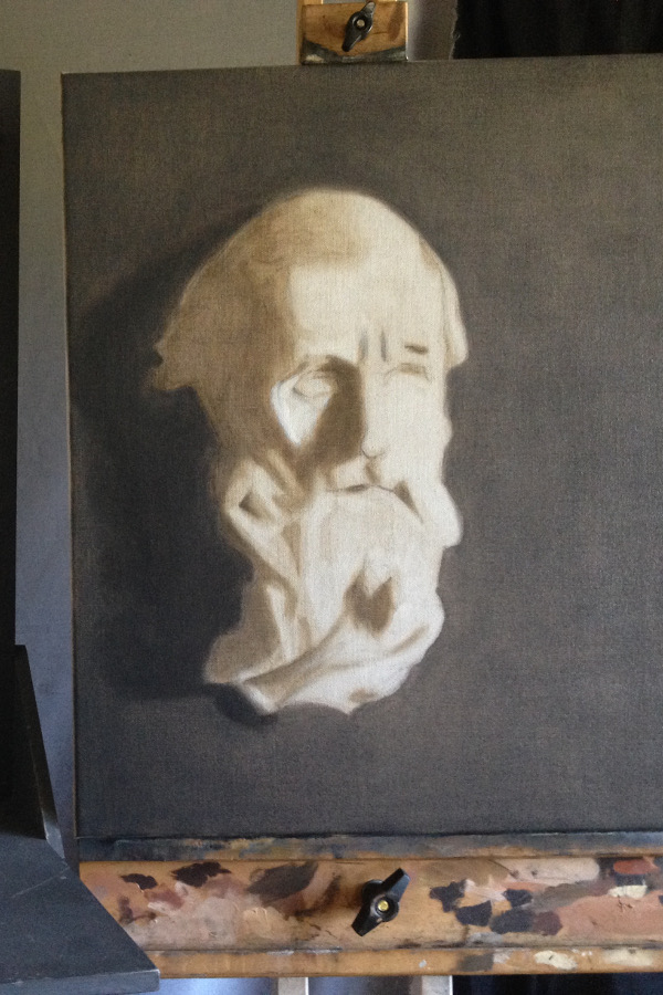 Portrait : tête de statue (vieillard)