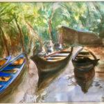 Barques - Aquarelle de Françoise