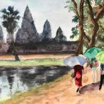 Angkor - Aquarelle par Françoise