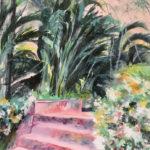 Escalier rose - Gouache de Françoise