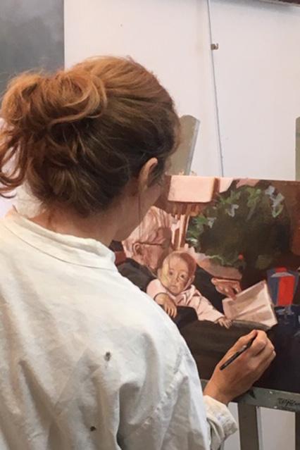 Peinture flamande en cours d'exécution