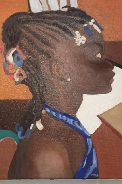 Peinture flamande : fillette aux tresses africaines